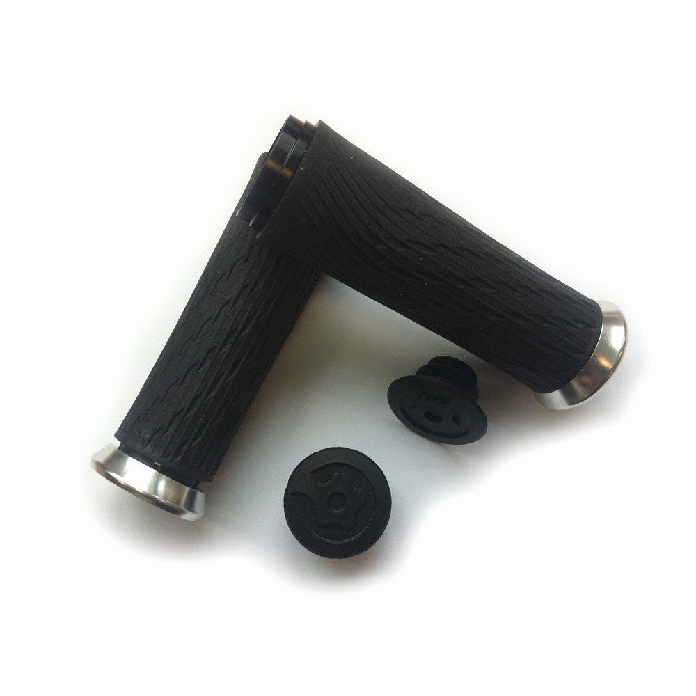 Locking gripy pro Grip Shift Integrated 100mm se stříbrnými objímkami a koncovkou řidítek (Locking gripy pro Grip Shift Integrated 100mm se stříbrnými objímkami a koncovkou řidítek)