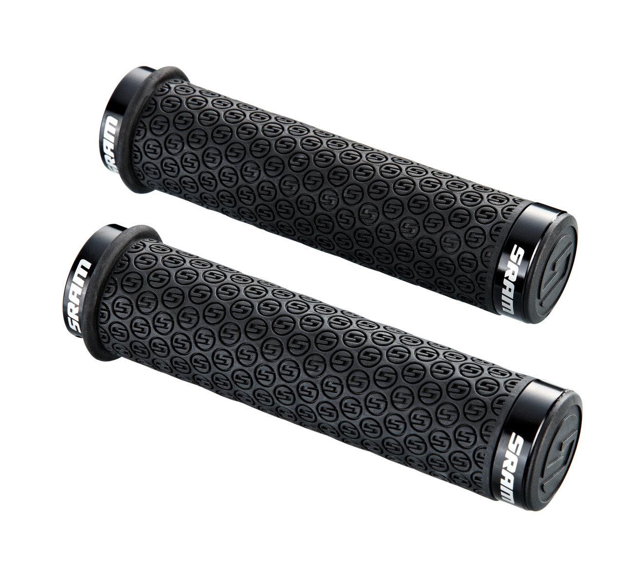 SRAM DH Silicone Locking gripy černé s objímkami  a s koncovkami řidítek